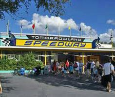 """Tommorrowland Speedway - Height Requirement: 32"""" to ride, 54"""" to drive"""