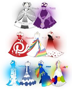 Funny Social Media Dresses << I want there to be a drawing of the personified social media sites posing in these dresses!