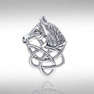 Silver Horse Head Knotwork Pendant TPD360 - Combining the beauty of Celtic knotwork and the grace of the horse, Peter Stone the world's leading manufacturer of fine sterling silver jewelry - has designed this Celtic inspired horse pendent.