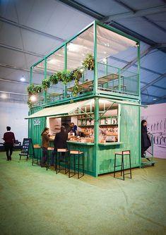 Outdoor Restaurant Design, Restaurant Interior Design, Pop Up Restaurant, Cafe Shop Design, Coffee Shop Interior Design, Container Coffee Shop, Pop Up Cafe, Casas Containers, Container Architecture