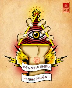 Tattoo, Tattoo Flash, Old School, Traditional, Illustration, Ilustración, Neo Traditional, Enlightenment, Knowledge, Liberation, Third Eye, Dharma, Bolts, Clouds, Hand, Triangle, Crystal, Hand