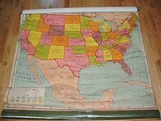 Vintage 1950s Industrial School Wall Map United States Canvas Cloth Classroom US | eBay