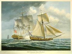 John Mecray painting, depicts the British frigate Cerberus engaged in a skirmish with the American sloop Providence.