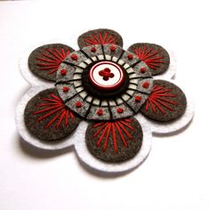 SEVENTIES felt brooch pin with freeform by designedbyjane on Etsy