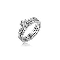 Joyería de la manera Nuevo oro blanco plateado circón anillo de dedo set de regalo de boda para mujeres de las señoras al por mayor R1529
