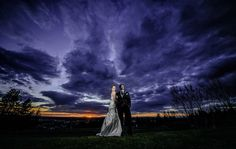 amazing dramatic wedding portrait in spokane at sunset with bride and groom on their wedding day Matt Shumate Photography