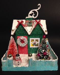 CHRISTMAS HOUSE~SNOWMAN~Putz House~Bottle Brush Trees~Gingerbread House~Glitter House by ThePokeyPoodle on Etsy