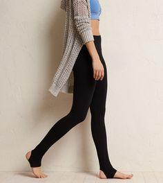 True Black Aerie Stirrup Skinny Yoga Pant