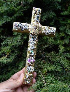 Cross jeweled Cross beaded cross wall decor wall by creatingwithni