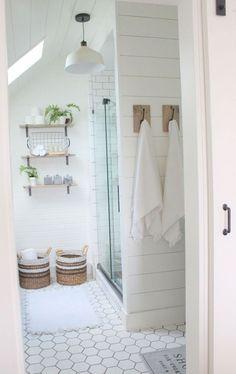 Beautiful Shiplap Master Bathroom Skylight Warm Towel Hooks