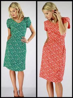 The Lily is so LOVELY! Such a CUTE Bird Print Dress  Green or Coral?  Buy here: http://www.mikarose.com/index.php?main_page=product_info&cPath=3&products_id=175