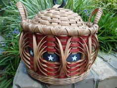 8 Round Lidded Flag Americana Basket by kimstexascreations on Etsy
