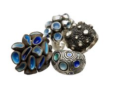 Cinelli & Maillet--Bouquet, Lather, Moonscape and Swirls, rings, sterling silver, enamel, 2007