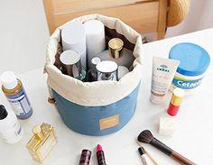 OZZOY Fashion Women Makeup Bag Hanging Toiletries Travel Kit Jewelry Organizer Cosmetic Bag Wth a Mini Bag (Blue)