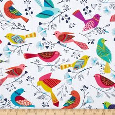 From Michael Miller, this cotton print is perfect for quilting, apparel and home decor accents.  Colors include white, aqua, navy, pink, orange, yellow, green, purple and yellow.