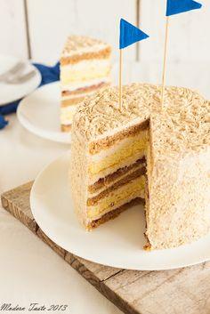 Halva and walnut layer cake