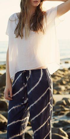 Kierie Tie Dye Silk Cotton Voile Drawstring Pants