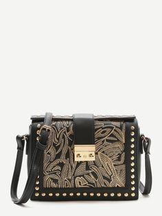 Shop Black Embroidery Studded Trim PU Shoulder Bag online. SheIn offers Black Embroidery Studded Trim PU Shoulder Bag & more to fit your fashionable needs.