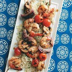 Skewered Shrimp & Vegetables. Serve these flavorful and colorful #kabobs as an #appetizer or as the main dish — they pair beautifully with rice!