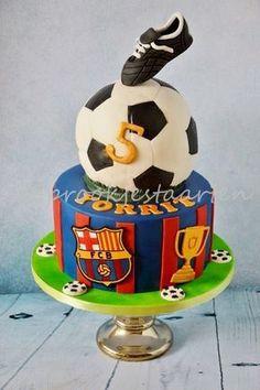 - cake by Tamara Eichhorn Soccer Birthday Cakes, Football Birthday, Soccer Party, Soccer Cakes, Football Cakes, Fruit Birthday, Barcelona Cake, Sport Cakes, Fruit Decorations