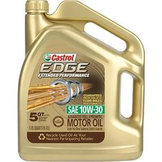 Castrol 10W30 Edge Extended Performance  with Titanium Synthetic Motor Oil, 5 qt