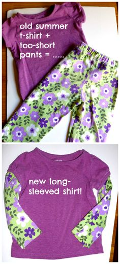 "ReFab Diaries: Repurpose: New shirt from old ""highwaters""!    WOW!!!  Wish I had thought of this years ago when my girls were little."