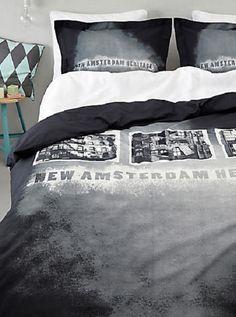 Amsterdam dekbedovertrek van dyck zwart wit huis flat heritage katoen dealer slaapkenner theo bot