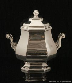 Henin Freres Sterling Silver Tea Set - The amazing sugar bowl, vermeil interior, measures roughly 16 cm. high covered, 16 cm. across to the handle tips, and weights 487 grams.
