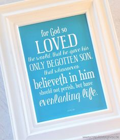 Free Printable Quote Handout for January Visiting Teaching, RS Printables, Relief Society, John 3:16 #mycomputerismycanvas