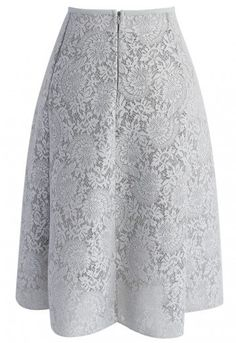 Blooming Romance Airy A-line Skirt in Grey Gray Skirt, Lace Skirt, Midi Skirt, Led Dress, Femininity, A Line Skirts, Floral Lace, Fashion Brand, Vintage Inspired