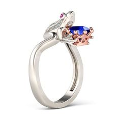 Frog with Crown 2-tone Sapphire Rhodium Plating Sterling Silver Frog Ring