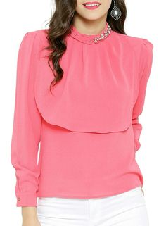 a15874341a0f Buy Sassafras Pink Polyester Georgette Chinese Collar Embellished Top  online in India at best price.ayered Pink Top with a Chinese Collar