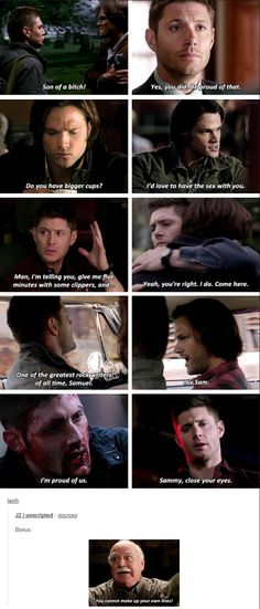 up to 11x23 Alpha and Omega [gifset] - J2 and unscripted lines; Supernatural