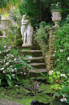 Lamorran House Gardens, Cornwall, UK | A coastal garden featuring romantic garden statues