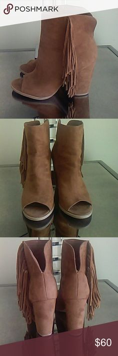 "Dolce Vita fringe boots Gorgeous soft tan suede peep toe. 4"" heel. Like new ! Dolce Vita Shoes Heeled Boots"