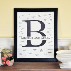 Monogrammed canvas wedding guest signature mats with frame offer a modern guest book alternative for recording guest signatures at your wedding reception as well as anniversary, birthday, and graduation parties