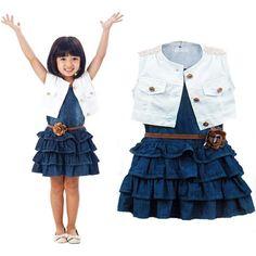 Nice Girls Vest Jeans Dress + Jacket 2pc Suits Children Girls Summer Models Vestidos Kids Dresses For Girls Free Shipping