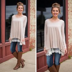 """Knit top with lace detail Long Sleeve Knit Top With Lace Detail. Price firm unless bundle ! Color : oatmeal Size: Small (0-4) Medium (6-8) Large (10-12). Material has generous  amount of stretch . Model is wearing size small. Length : front 30""""back 34"""". Tops Tees - Long Sleeve"""