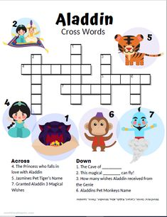 This Aladdin Printable Activity pack is great fun for kids, an Aladdin-themed party, or to get excited to see any of the Aladdin movies! Disney Games For Kids, Disney Activities, Fun Games For Kids, Puzzles For Kids, Activities For Kids, Disney Themed Games, Aladdin Birthday Party, Aladdin Party, Mickey Birthday