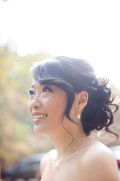 Swoop/spiral in front/ curly updo in back Bridal Updo, Wedding Updo, Wedding Bangs, Bridesmaid Hair, Prom Hair, Bridesmaids, Fancy Hairstyles, Wedding Hairstyles, Wedding Hair And Makeup