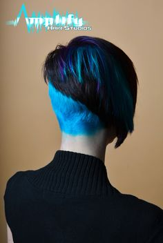 asymmetrical hairstyle with dramatic color
