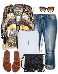 Plus Size Kimono & Jeans Outfit - Plus Size Fashion for Women - alexawebb.com #alexawebb