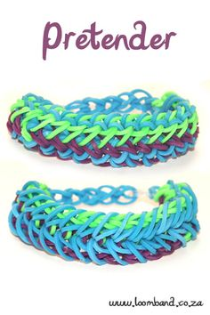 Pretender Loom Band Bracelet Tutorial, instructions and videos on hundreds of loom band designs. Shop online for all your looming supplies, delivery anywhere in SA. Rainbow Loom Tutorials, Rainbow Loom Patterns, Rainbow Loom Creations, Rainbow Loom Bands, Rainbow Loom Charms, Rainbow Loom Bracelets, Loom Bands Designs, Loom Band Patterns, Loom Band Bracelets