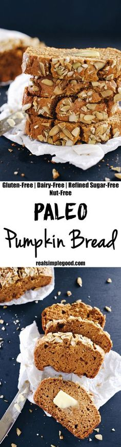 Fall is the season of pumpkin, and for me, this Paleo pumpkin bread. It feels like pumpkin spice is taking over the world, and I'm not mad about it! Paleo, Gluten-Free, Dairy-Free, Refined Sugar-Free + Nut-Free. | http://realsimplegood.com