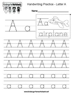 Kindergarten Letter A Writing Practice Worksheet. This series of handwriting alphabet worksheets can also be cut out to make an original alphabet booklet. Alphabet Writing Worksheets, Alphabet Writing Practice, English Worksheets For Kindergarten, Handwriting Practice Worksheets, Handwriting Alphabet, Tracing Worksheets, Kindergarten Writing, Cursive, English Alphabet Writing
