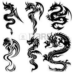 celtique: Ensemble des dragons chinois, tatouage tribal Illustration
