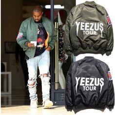 KANYE WEST YEEZUS Tour MERCH MA1 Green Yeezy MA-1 Flight Pilot BOMBER Jackets
