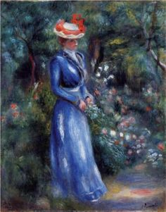 Woman in a Blue Dress, Standing in the Garden of Saint-Cloud - Pierre-Auguste Renoir Paintings Pierre Auguste Renoir, Edouard Manet, Painting Frames, Painting Prints, Dress Painting, Time Painting, Painting Canvas, August Renoir, Renoir Paintings