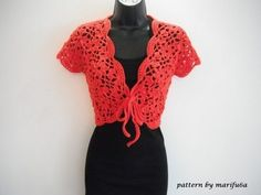 how to crochet flowers bolero shrug jacket with motifs free pattern tutorial - YouTube