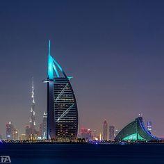 Burj Al Arab stars hotel) and Burj Khalifa (at the background). Dubai Travel Guide, Dubai City, Dubai Uae, New Number, Burj Al Arab, Sharjah, United Arab Emirates, Burj Khalifa, Countries Of The World